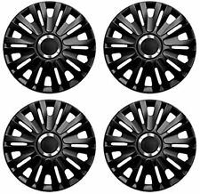 "Wheel Trims 14"" Hub Caps Royal Plastic Covers Set 4 Black inset specific fit"