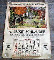 1940s Dodge Plymouth Car Dealership Poster Calendar Automobile Advertising VTG