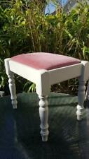 Stool bedroom dressing table desk cream wood & pink velvet feel padded seat