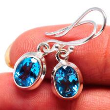"""Swiss Blue Topaz 925 Sterling Silver Earrings 1"""" Ana Co Jewelry E359036F"""
