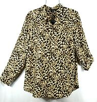 New Women's 1X Plus Size Fall Brown Leopard Print Button Shirt Blouse Top  NWT