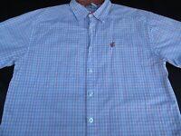 Rocawear Mens Button Front Short Sleeve Plaid Logo Shirt Large L