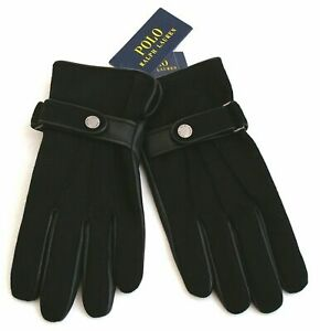 Polo Ralph Lauren Men's Wool/Leather Gloves Black Touch Screen M NWT AB3-16