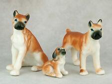 Vintage Bone China Miniature Set of 3 Boxer Dog Family Figurines Matte Finish
