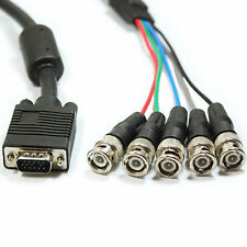 10m VGA Male to 5 BNC RGB & Sync Plugs CCTV Monitor Cable/Lead -DVR Video Camera