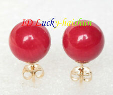 AAA natural Stud 8mm round red coral earrings 14K gold post j8099