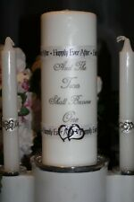 Happily Ever After Double Heart Charm Two Become One White Wedding Unity Candle