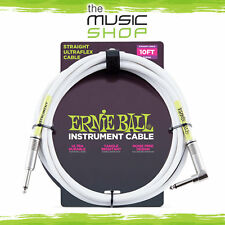 Ernie Ball 10ft White Instrument Cable w/ Straight/Angle Ends - 6049 Guitar Lead