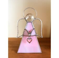 Handmade Stained Glass Angel Tealight Candle Holder Heart Pink Glass Gift