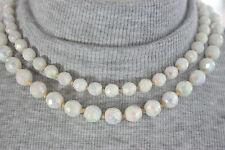 50s Blanco Aurora boreal Doble Collar Novia Vintage De Cristal De Leche