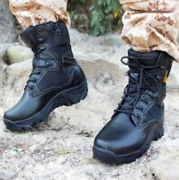 Men's Ankle Boots Side Zip Outdoor Military Desert High Top Lace Up Hiking Shoe