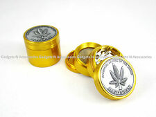GOLD METAL AMSTERDAM GRINDER 50MM 4 PART GRASS LEAF HERB WEED SHARK TEETH STASH