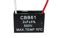 CBB61 500V 2UF Terminal Ceiling Fan Motor Running Rectangle Capacitor 2 wires