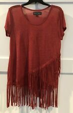 Almost Famous Short Sleeve Fringed Junior's Red Top Size Lg Nwot
