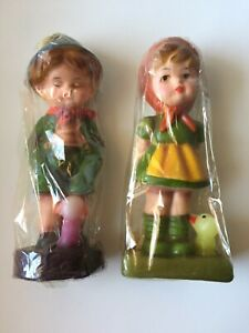 Set of 2 Hansel & Gretel Wax FigurinesDolls New Rare 1970s Great Gift