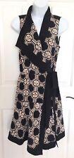 DEREK LAM 10 CROSBY Black Patterned Silk Sleeveless Dress 2 NWT #TS81529GT