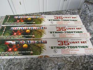 Vintage Lot of 3 -15 feet 35 Light Multi Colored Christmas Tree Lights  🎄🎄