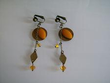 Boucles d'Oreilles Clip Original Orange/Jaune Moutarde Bronze/Marron pas cher