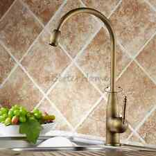 Kitchen Swivel Spout Sink Faucet Antique Gooseneck Single Handle Water Mixer Tap