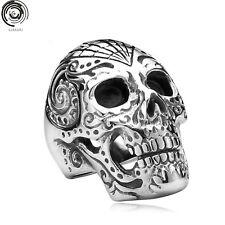 Mens Boys Metal Skull Ring Vintage Punk Titanium Biker Jewelry SZ 7