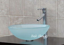 Bathroom Frosted Glass Vessel Vanity Sink Faucet T12FD1