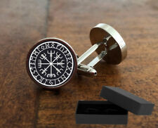 VIKING COMPASS - CUFFLINKS -  3D GLASS LENS - MENS NOVELTY GIFT - ANCIENT NORDIC