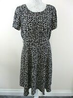 Jasper Conran dress size 14 black & blush abstract NWOT belt flared Debenhams