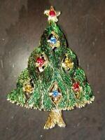 Vintage Signed JJ Christmas Tree Rhinestone Pin Brooch