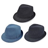 Premium Jeans Fabric Solid Color Fedora Hat - Different Colors