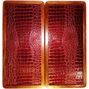 "21"" Red Crocodile Leather Skin Backgammon Set Wooden Handmade Tournament Board"