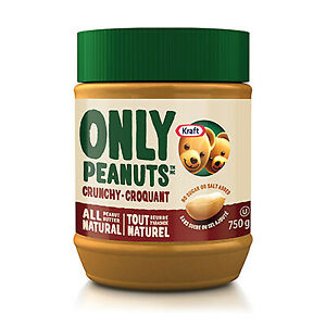 Kraft Peanut Butter All Natural Crunchy 750g (1.65lb) Jar Imported From Canada