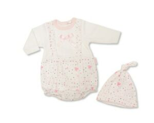 BNWT Tiny Premature Preemie Baby girls all in one romper & hat  3-5 lb 5-8lb