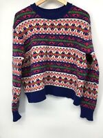J Crew Womens Sweater Blue Pink Lambswool Medium Pullover Crew Neck Fair Isles