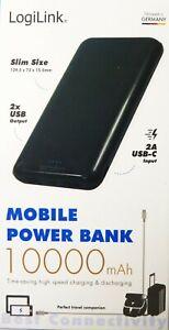 LogiLink Powerbank 10000mAh Power Bank Zusatzakku Batterie Ladegerät 2xUSB Handy