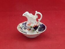 GAUDY WELSH MINIATURE PITCHER AND BOWL.GRAPE AND PANSY.