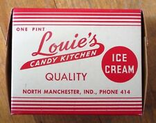 Ice Cream, THREE 1940s Boxes: Louie's Candy Kitchen-North Manchester, Indiana IN