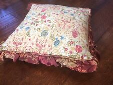 "Vtg Tapestry 18""x18"" Throw Pillow cover w/ pillow Heavyweight fabric w/ rufflle"