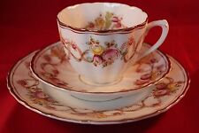 SALISBURY CHINA BRADLEYS ANTIQUE ART DECO TRIO CUP SAUCER & PLATE FLORAL DECOR