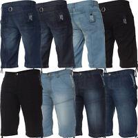 Mens Denim Shorts Regular Fit Pocket Detail Kruze Summer Half Jeans Pants Blue