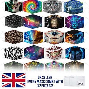 Halloween Reusable Washable Face Mask Protect Fashion Design nose clip Adult UK