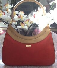 New Vintage Gucci Orange Suede Leather Bamboo Tote Bag Handbag 001.4062 Rare