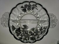 Vintage Divided Clear Glass Relish Dish With Black Flowers