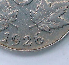 1926 FAR 6 Five Cents F Most RARE Variety LOW Mintage KEY George V Canada Nickel