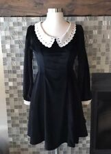 *US SELLER* Secret Honey Peter Pan Collar Velvet Velour Mini Dress Small Lolita