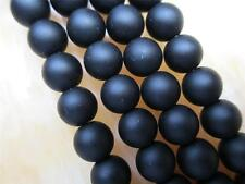 8mm black  Round Gem loose Beads 15''##ZY420