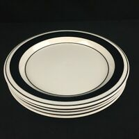 Lot of 4 VTG Salad Plates by Arabia Faenza Black and White Made in Finland