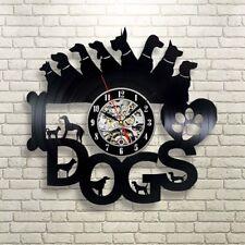 Dogs Vinyl Record Wall Art Clock Animal Clock Room Decor For Bedroom And Office