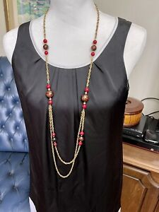 "Long Gold-Tone Metal Chain with Red Round Beads 45"" Necklace"