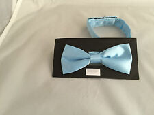 Baby Blue Polyester BOYS Ready Pre-tied Bow tie > 60 Colours Available in Shop