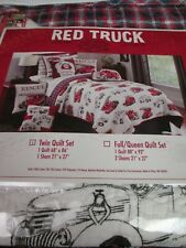 RED TRUCK Kids 2pc White Red Blue Firetruck Plaid Quilt Set - Twin